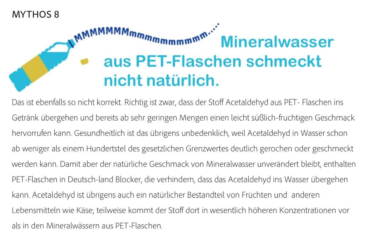 Mythos Mineralwasser aus PET-Flaschen schmeckt nicht