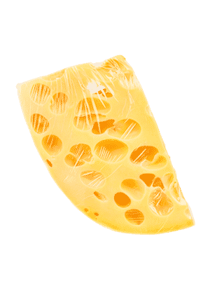 Käse in Plastikverpackung Plastikfolie