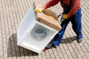 Transport einer Waschmaschine in EPS styropor airpop