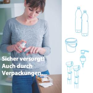 Sicher Versorgt Auch Durch Verpackungen Frau Desinfektionsmittel