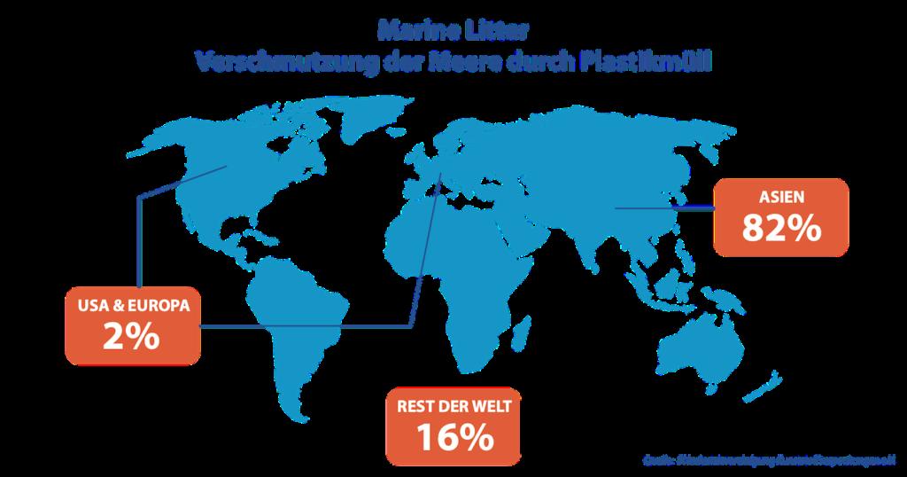 Marine Litter Weltkarte - Verschmutzung der Meere durch Plastikmüll über 80 Prozent Asien - Meeresmüll