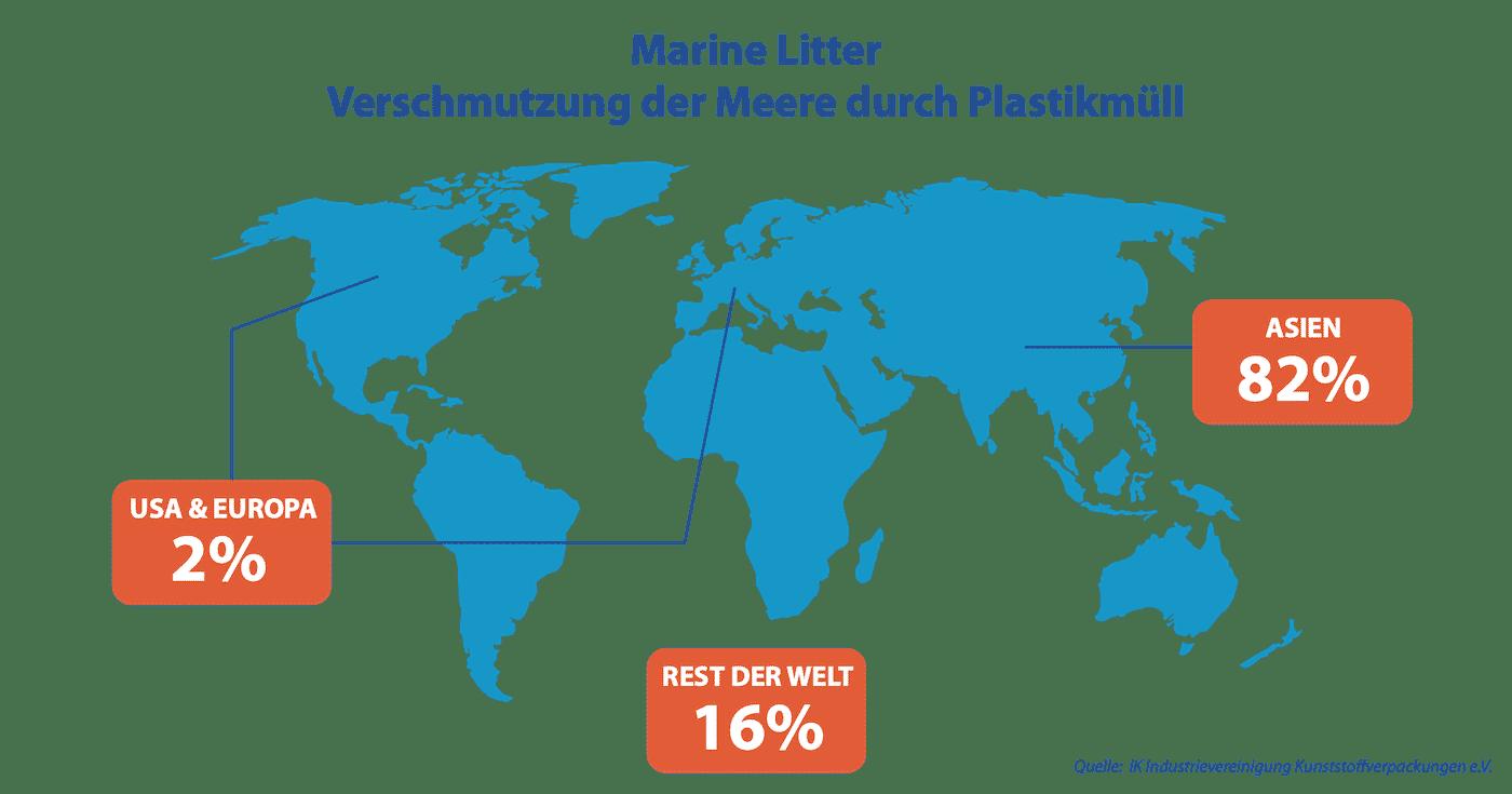 Marine Litter Weltkarte - Verschmutzung der Meere durch Plastikmüll über 80 Prozent Asien