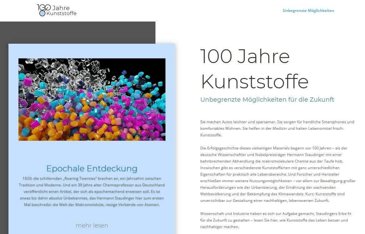 Startseite 100JahreKunststoffe.de - 100 Jahre Kunststoffe